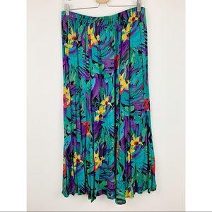 Vintage Maxi Skirt 2X Floral Teal Jungle Flowy